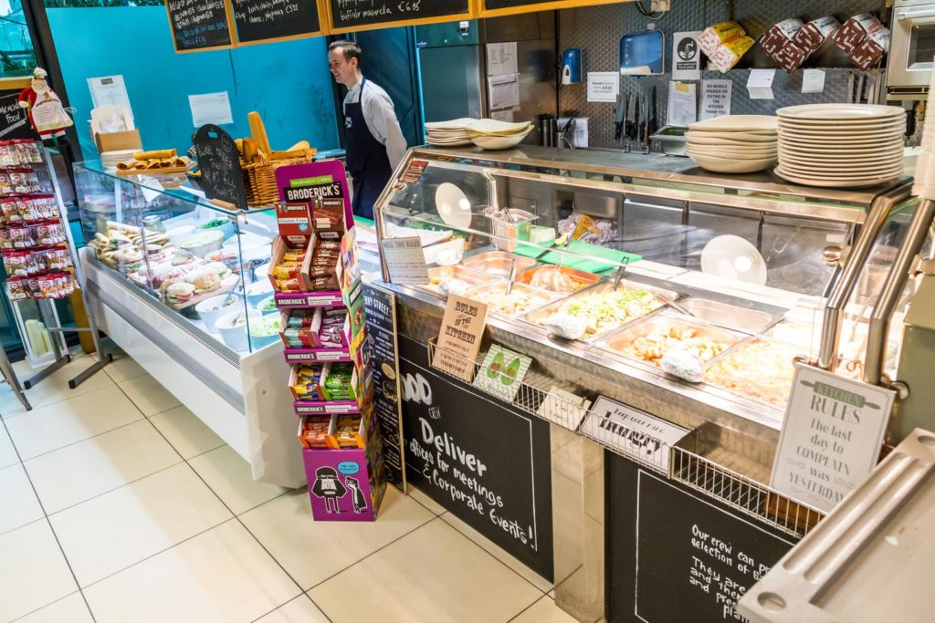 the food crew interal view of the cafe in sandyford showing hot and cold food counters